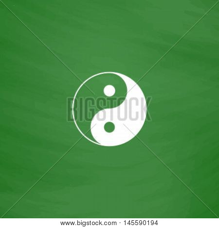 Ying yang Simple vector button. Imitation draw icon with white chalk on blackboard. Flat Pictogram and School board background. Illustration symbol