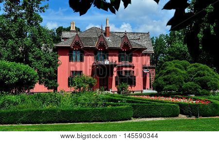 Woodstock Connecticut - July 14 2013: The Henry C. Bowen House known as Roseland Cottage built in the gothic revival style in 1846 and its formal gardens