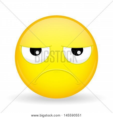 Sad emoticon. Hurt emoticon. Unhappy emoticon. Pouter emoji. Upset emotion. Vector illustration smile icon.
