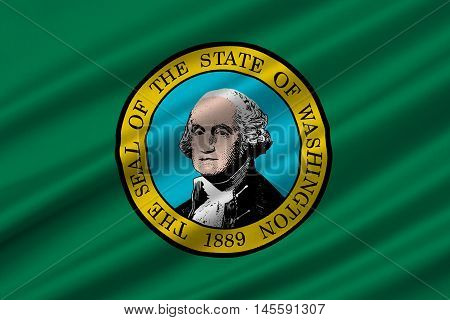 Flag of Washington is a state of United States. 3D illustration