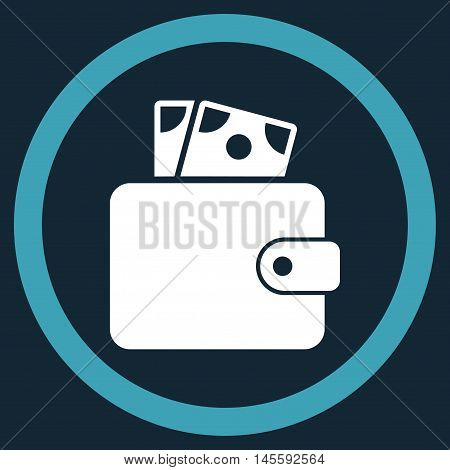 Wallet vector bicolor rounded icon. Image style is a flat icon symbol inside a circle, blue and white colors, dark blue background.