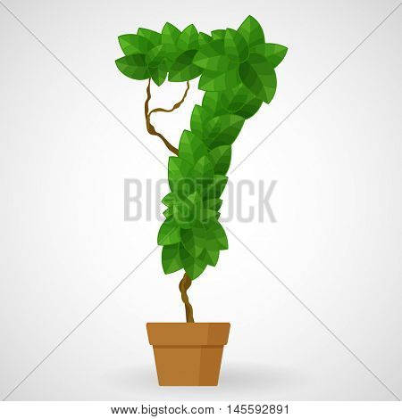 Figure 7. Tree in the pot. Vector alphabet letters made from green leaves.