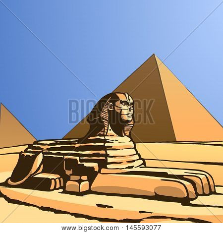 Sphinx  and Great Pyramid. Ancient statue. Vector Image.