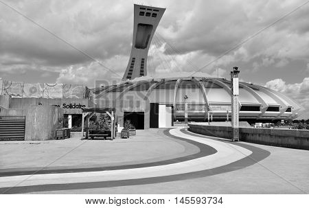 MONTREAL CANADA JULY 30 2016. The Montreal Olympic Stadium and tower. It's the tallest inclined tower in the world.Tour Olympique stands 175 meters tall and at a 45-degree angle