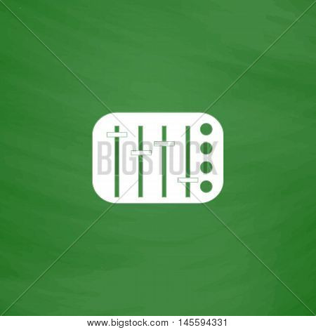 Sound Mixer Simple vector button. Imitation draw icon with white chalk on blackboard. Flat Pictogram and School board background. Illustration symbol