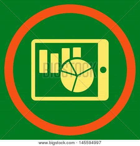 Charts on Pda vector bicolor rounded icon. Image style is a flat icon symbol inside a circle, orange and yellow colors, green background.
