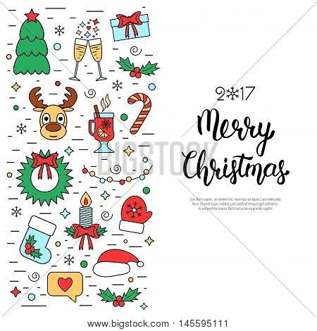 Christmas colored isolated concept flyer card with traditional attributes in line style with hand lettering inscription. Handwritten modern brush lettering. Flat design from linear icons. Vector illustration