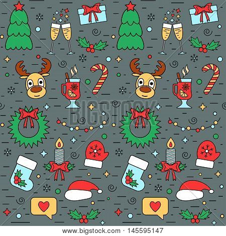 Colorful Christmas and New Year seamless pattern with traditional attributes in line style. Vector illustration