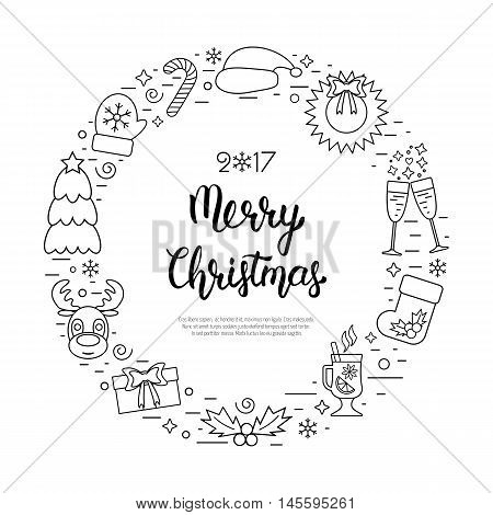 Christmas holidays circle frame with traditional attributes in line style with hand lettering inscription. Vector illustration