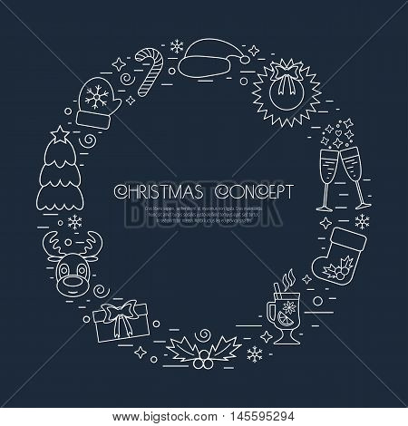 Christmas holidays circle frame with traditional attributes in line style with white icons. Vector illustration