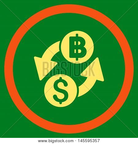 Dollar Baht Exchange vector bicolor rounded icon. Image style is a flat icon symbol inside a circle, orange and yellow colors, green background.