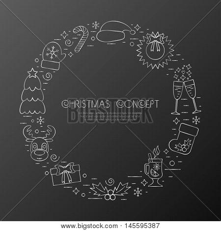 Christmas holidays circle frame with traditional attributes in line style with silver icons. Vector illustration