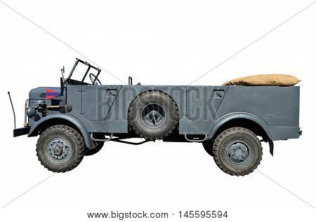 German military vehicle from the end of second world war. Isolated with path on white background.