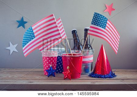 4th of July Independence Day celebration. Table arrangement for party