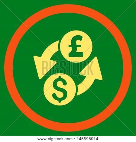 Dollar Pound Exchange vector bicolor rounded icon. Image style is a flat icon symbol inside a circle, orange and yellow colors, green background.
