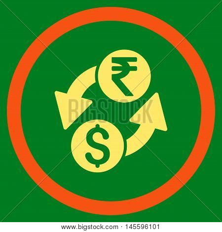 Dollar Rupee Exchange vector bicolor rounded icon. Image style is a flat icon symbol inside a circle, orange and yellow colors, green background.