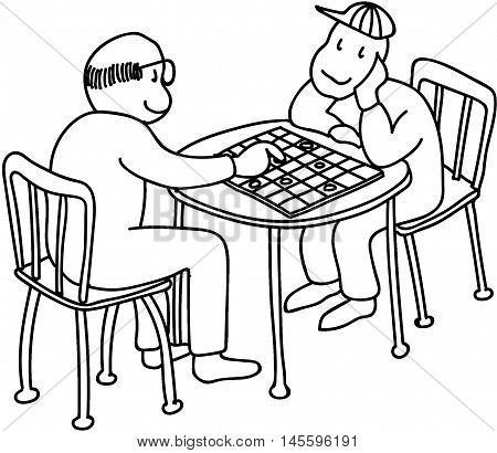 young boy playing checkers with grandpa elderly man