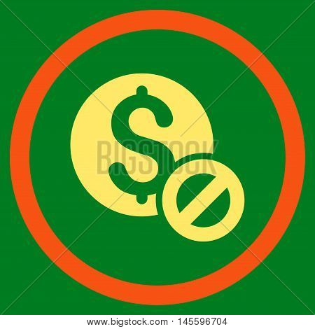 Free of Charge vector bicolor rounded icon. Image style is a flat icon symbol inside a circle, orange and yellow colors, green background.