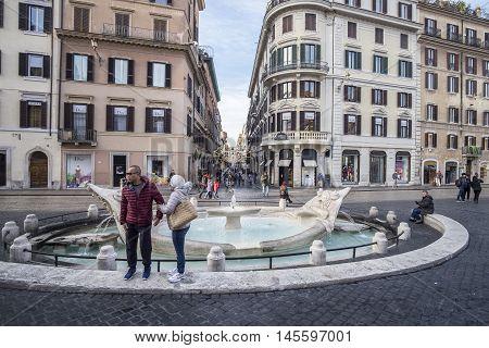Italy, Rome, 13 December 2015 - Take a look to via dei Condotti from Fontana della Barcaccia in Piazza di Spagna