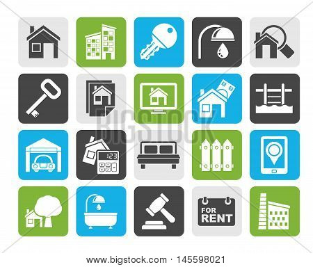 Silhouette Real Estate business Icons - Vector Icon Set