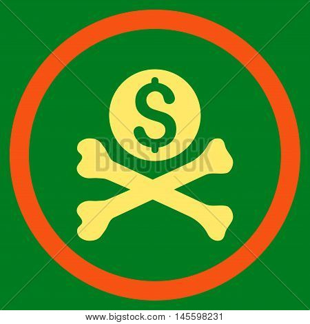 Mortal Debt vector bicolor rounded icon. Image style is a flat icon symbol inside a circle, orange and yellow colors, green background.