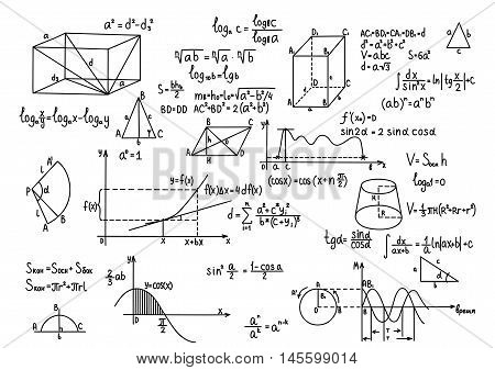 Hand Drawn Geometry Formulas Science Knowledge Education.