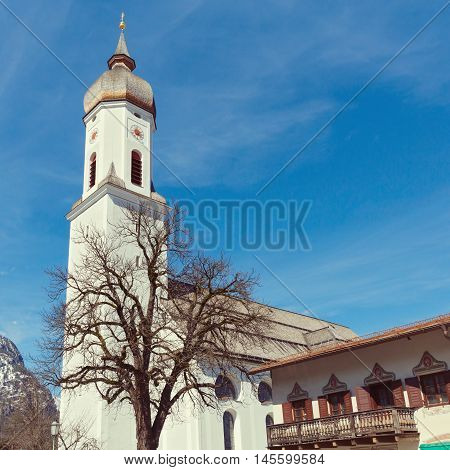 Garmisch-Partenkirchen resort town view in Bavaria Germany