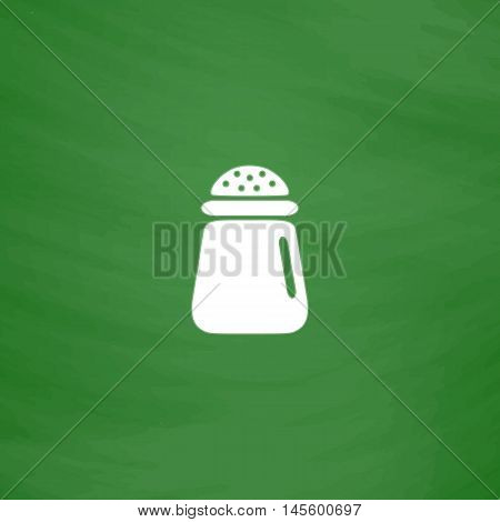 salt Simple vector button. Imitation draw icon with white chalk on blackboard. Flat Pictogram and School board background. Illustration symbol
