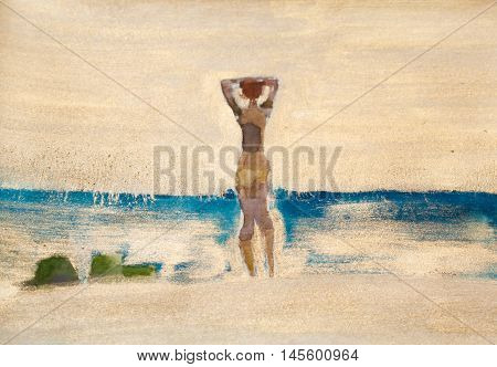 Summer beach art. Tanned girl is standing back ans seeing to water.