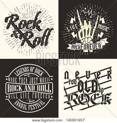 Set of  Monochrome Rock music print, hipster vintage label, graphic design , rock-music tee print stamp design. t-shirt print lettering artwork, vector