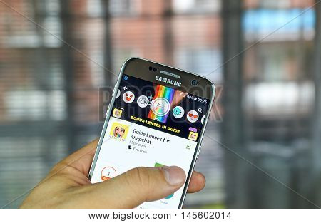 MONTREAL CANADA - JULY 1 2016 - Guide lenses for Snapchat on android cell smartphone. Snapchat is a mobile messaging application used to share photos videos text and drawings.