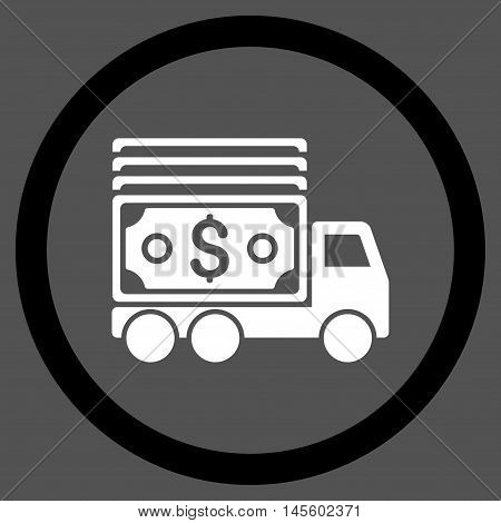 Cash Lorry vector bicolor rounded icon. Image style is a flat icon symbol inside a circle, black and white colors, gray background.