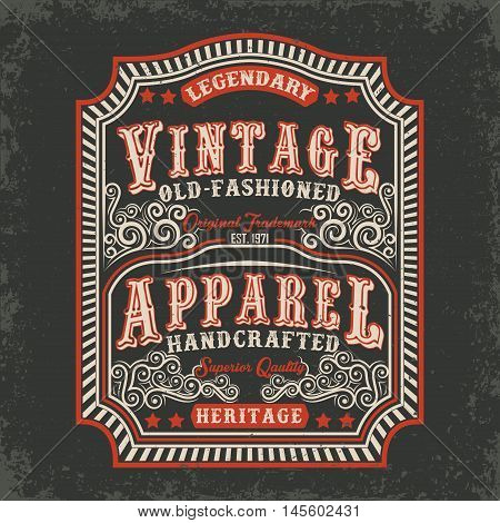 vintage label of old-fashioned handcrafted apparel, Tee shirt print design, vector