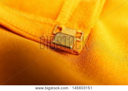 Fastener on cloth, close up
