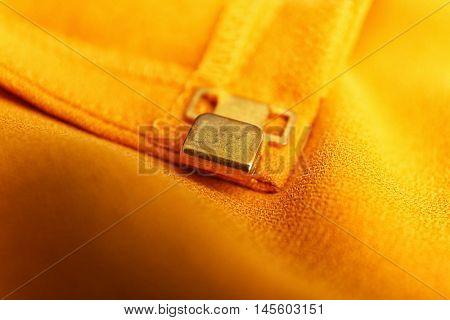 Fastener on cloth, close up