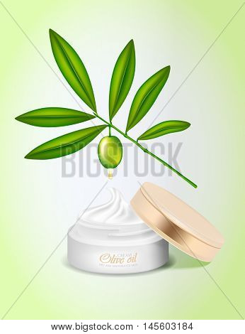 Jar of cream for the face with olive oil. Branch with green olives.