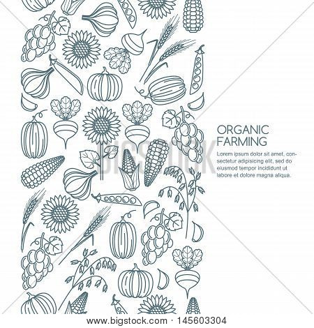 Vector Seamless Background With Outline Vegetables And Cereal Grains Icons.