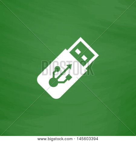 USB flash drive Simple vector button. Imitation draw icon with white chalk on blackboard. Flat Pictogram and School board background. Illustration symbol
