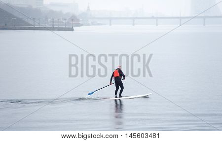 Athletic Man Stand Up Paddle Board Sup03