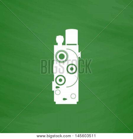 Retro cinema Simple vector button. Imitation draw icon with white chalk on blackboard. Flat Pictogram and School board background. Illustration symbol