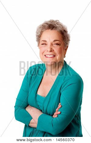 Happy Smiling Senior Woman With Arms Crossed