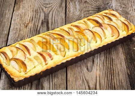Apple Pie with Cottage Cheese and Peaches Studio Photo