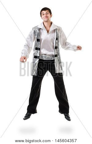 Young and stylish modern ballet dancer jumping, isolated on white background. Full body.