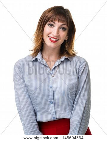 portrait of attractive caucasian smiling woman isolated on white with copyspace studio shot