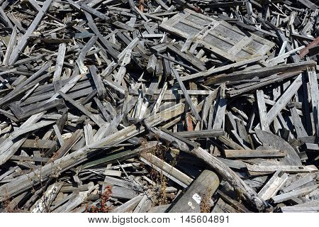 Pile of waste wood awaiting incineration for energy