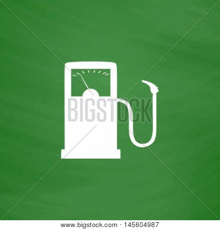 Gas station Simple vector button. Imitation draw icon with white chalk on blackboard. Flat Pictogram and School board background. Illustration symbol