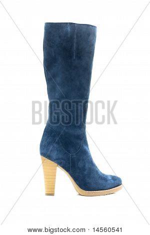 Blue Female Shammy Boot Isolated On White