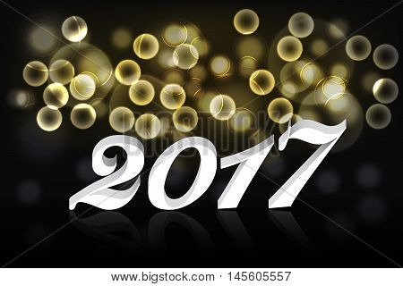 Happy new year 2017 banner or background with gold bokeh effect and 3D white text with reflection on black backdrop. Golden abstract rounded background with 2017 sign.