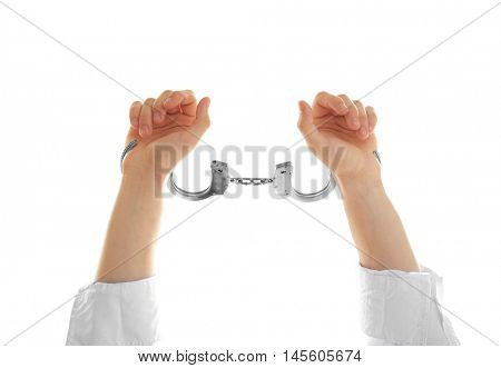 Man hands in handcuffs, isolated on white