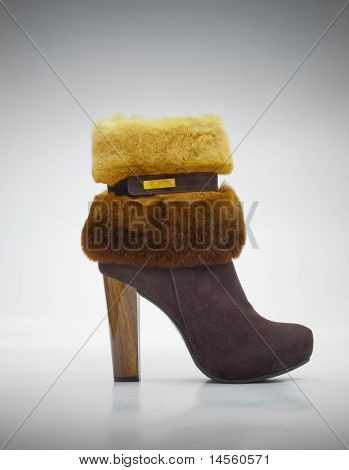 Stylish Female Shammy Shoe Decorated With Fur And Wooden High Heel